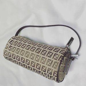 Vintage Fendi Zucchino Monogram Mini Barrel Bag